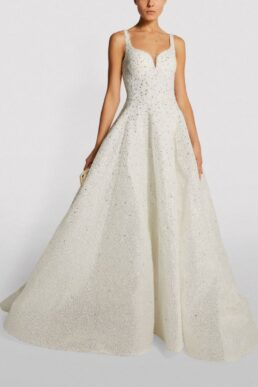 Mikael D Embellished Sweetheart-Neckline Gown Ivory