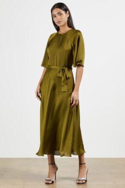 Ted Baker HARIIET Raglan sleeve tea midi dress Khaki Green