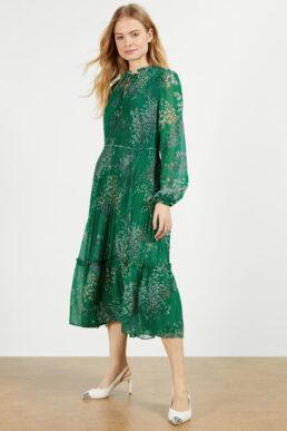 Ted Baker ROSIIIE Serendipity pleated long sleeve midi dress Green Multi