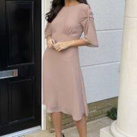 TFNC Kailey Mink Midi Dress Blush Light Pink