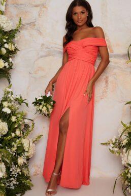 Chi Chi Bardot Ruched Bridesmaid Dress in Orange