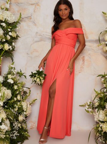 Chi Chi Bardot Ruched Bridesmaid Dress in Orange