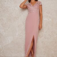 Chi Chi Cap Sleeve Embroidered Maxi Dress blush pink