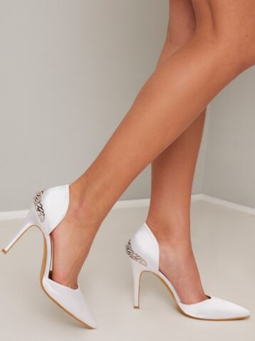 Chi Chi Court Bridal Heels with Satin Design in White