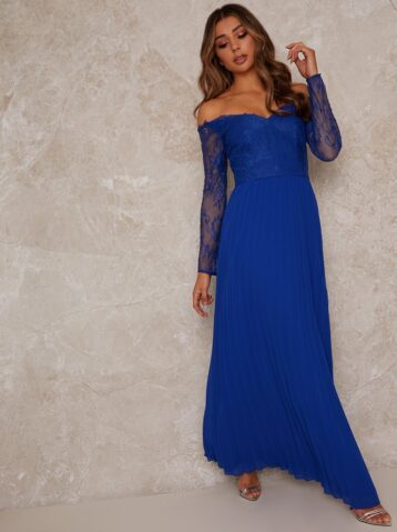 Chi Chi Lace Sleeve Bridesmaid maxi Dress in Blue
