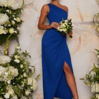 Chi Chi One Shoulder Bodycon Bridesmaid Maxi Dress in Blue