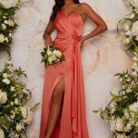 Chi Chi One Shoulder Satin Finish Maxi Bridesmaids Dress in Orange