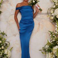 Chi Chi Satin Finish Bardot Bridesmaid Maxi Dress in Blue
