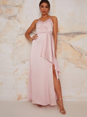 Chi Chi Satin Finish Drape Maxi Dress In Mink blush pink