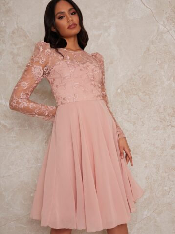Chi Chi Sheer Long Sleeve Embroidered Skater Dress in Pink blush
