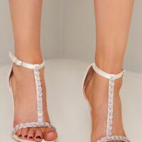 Chi Chi Stilleto Heels with Embellishment in White