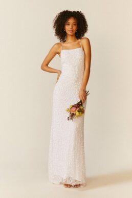 Coast All Over Sequin Cross Back Bridal Maxi Dress Ivory