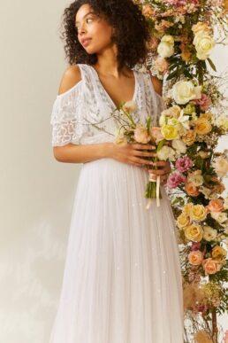 Coast Cold Shoulder Embellished Bridal Dress Ivory