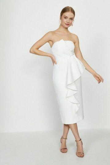Coast Ruffle Front Bandeau Bridal Dress Ivory