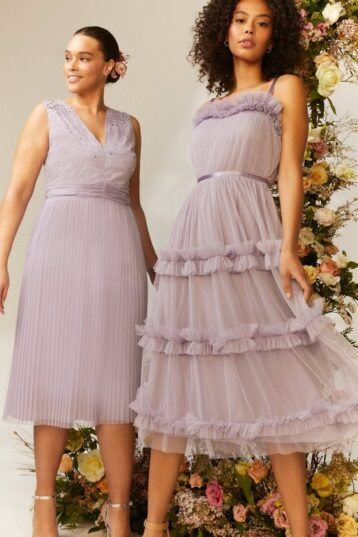 Coast Tiered Ruffle Skirt Midi Dress Lilac Light Purple