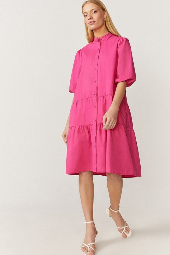 Button Through Poplin Smock Dress