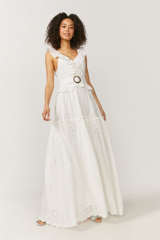 Broderie Tiered Maxi Dress
