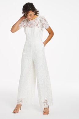 Joanna Hope Bridal Lace Jumpsuit White