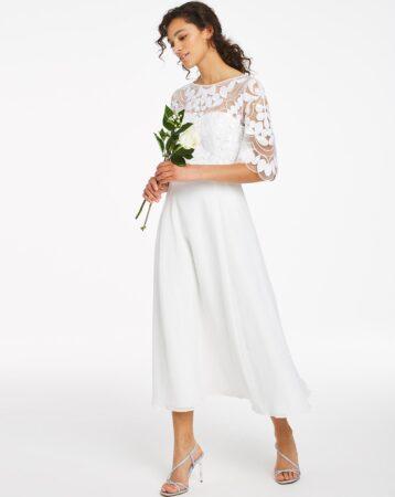 Joanna Hope Bridal Sleeve Embroidered Midi Dress White