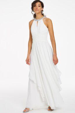 Joanna Hope Embellished Halterneck Bridal Maxi Dress White