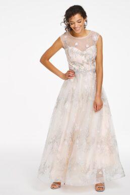 Joanna Hope Embroidered Bridal Maxi Dress Cream Ivory Silver