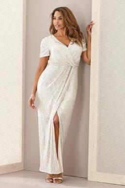 Joanna Hope Sequin Wrap Maxi Bridal Dress Champagne
