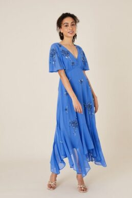 Monsoon Amira embellished hanky hem dress blue