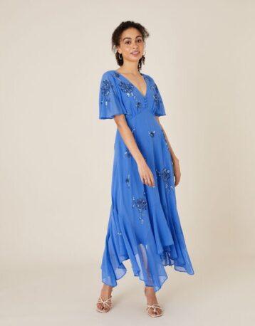 Monsoon Amira embellished hanky hem dress blue