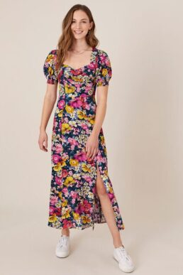 Monsoon Gloria mixed floral midi dress blue multi