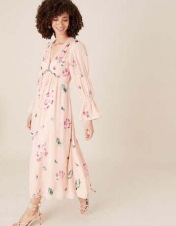 Monsoon Hayley embroidered floral tea dress pink blush