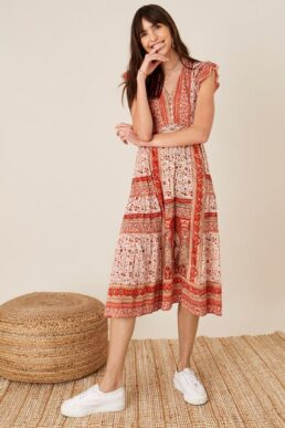 Monsoon Heli heritage print jersey midi dress orange multi