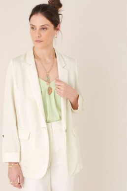 Monsoon Smart longline blazer in linen blend Ivory