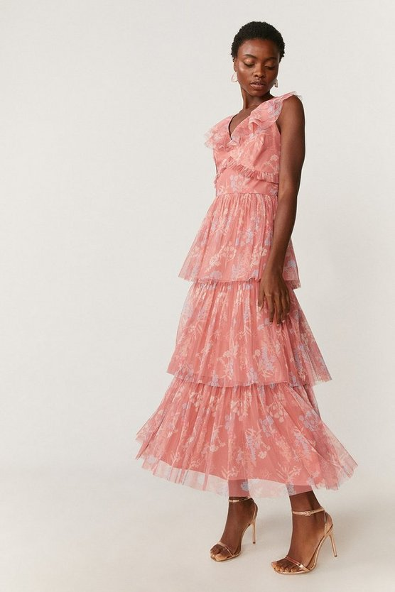 Floral Ruffle Tier Maxi Dress