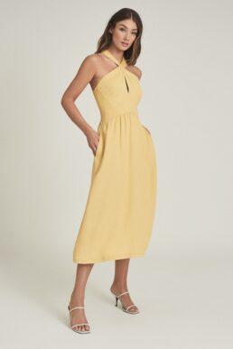 Reiss Orla Halterneck Midi Dress Yellow