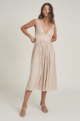 Reiss Saffy Plunge Neckline Midi Dress Blush Light Pink