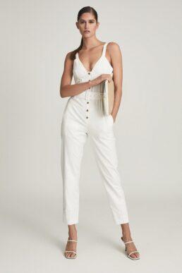 Reiss Sola Button Through Jumpsuit White