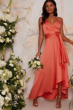 Satin Cami Strap Wrap Midi Bridesmaid Dress in Orange