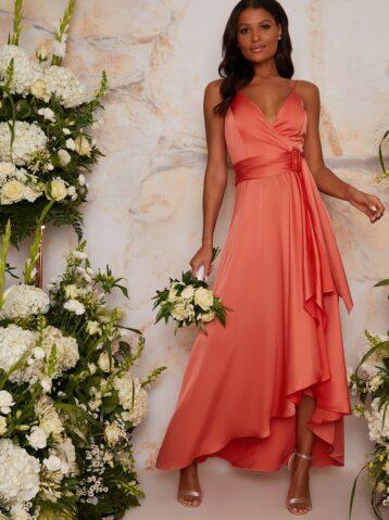 Satin Cami Strap Wrap Midi Bridesmaid Dress in Orange