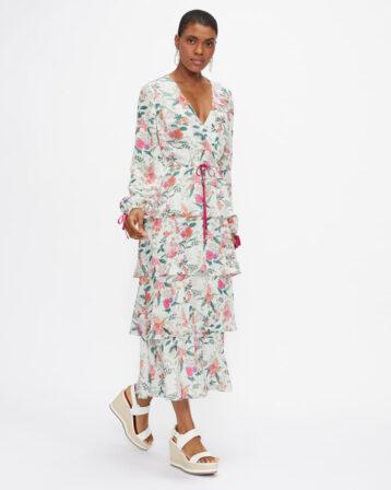Ted Baker MILLIII Metropolis Printed Tiered Midi Dress White Multi
