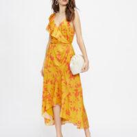 Ted Baker SARAAA Ruffle Midi Wrap Dress Yellow