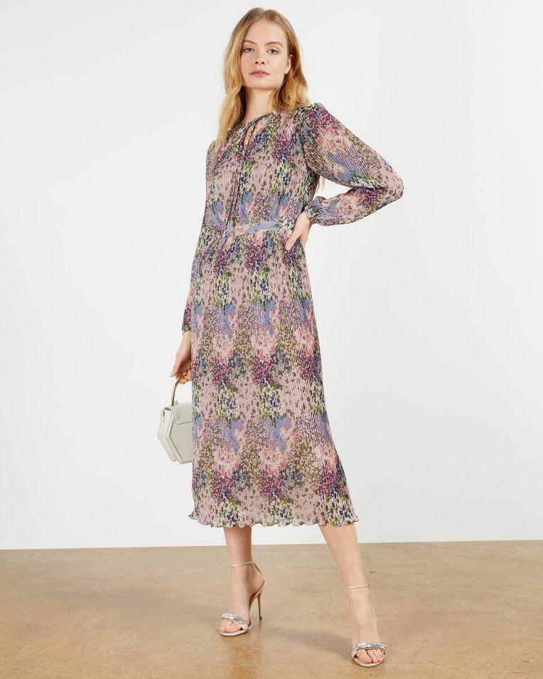FLOSII Ditsy printed pleated midi dress