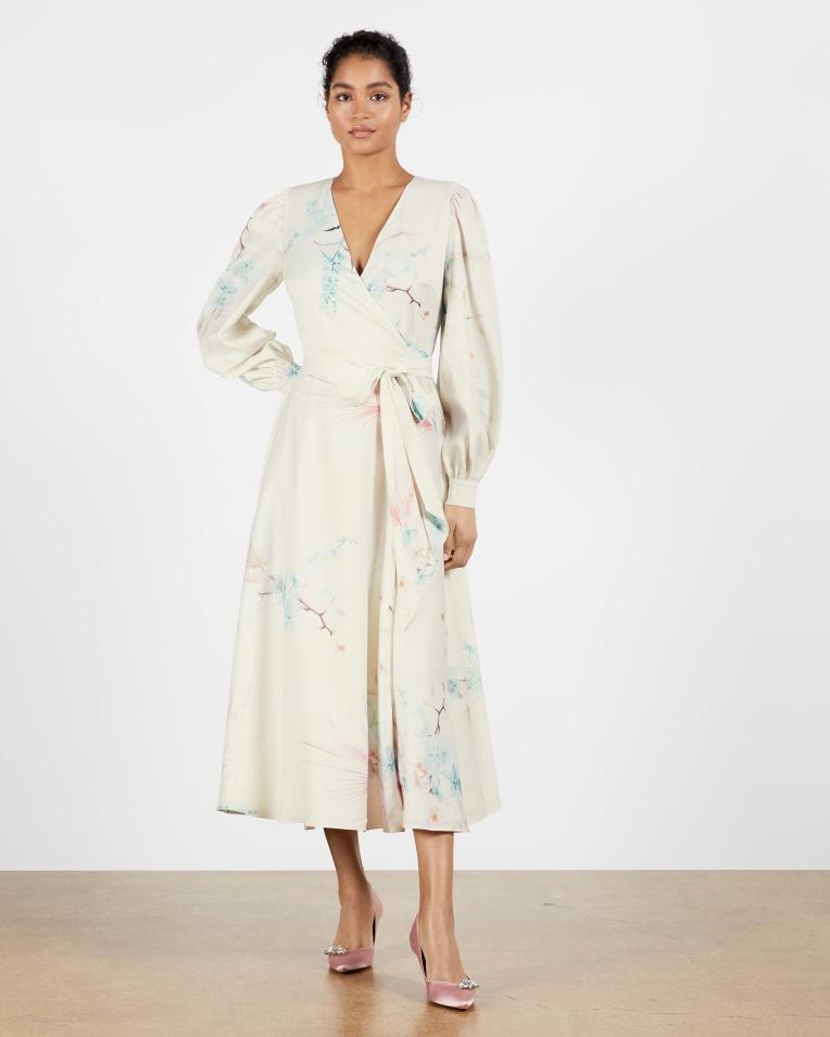 Flossi Floral wrap long sleeve midi dress