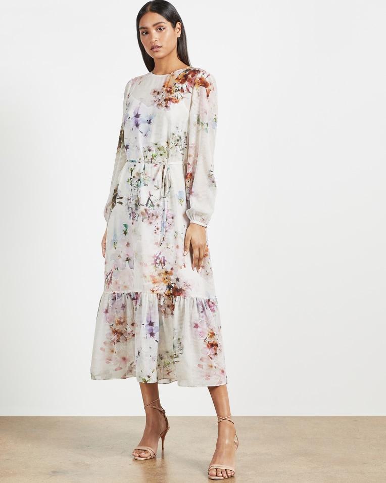 KALLY Vanilla peplum midi dress