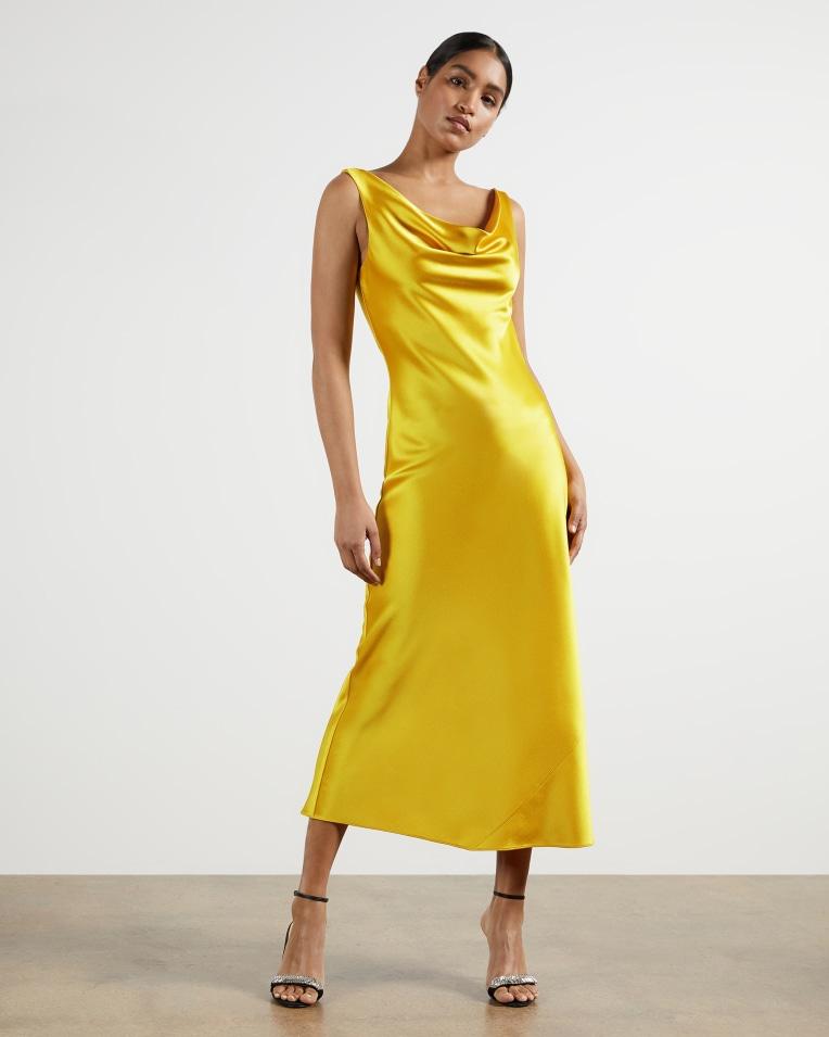 KINSEYY Cowl neck midi slip dress