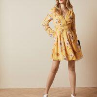 Ted Baker POSYY Cabana long sleeve mini dress Yellow Multi