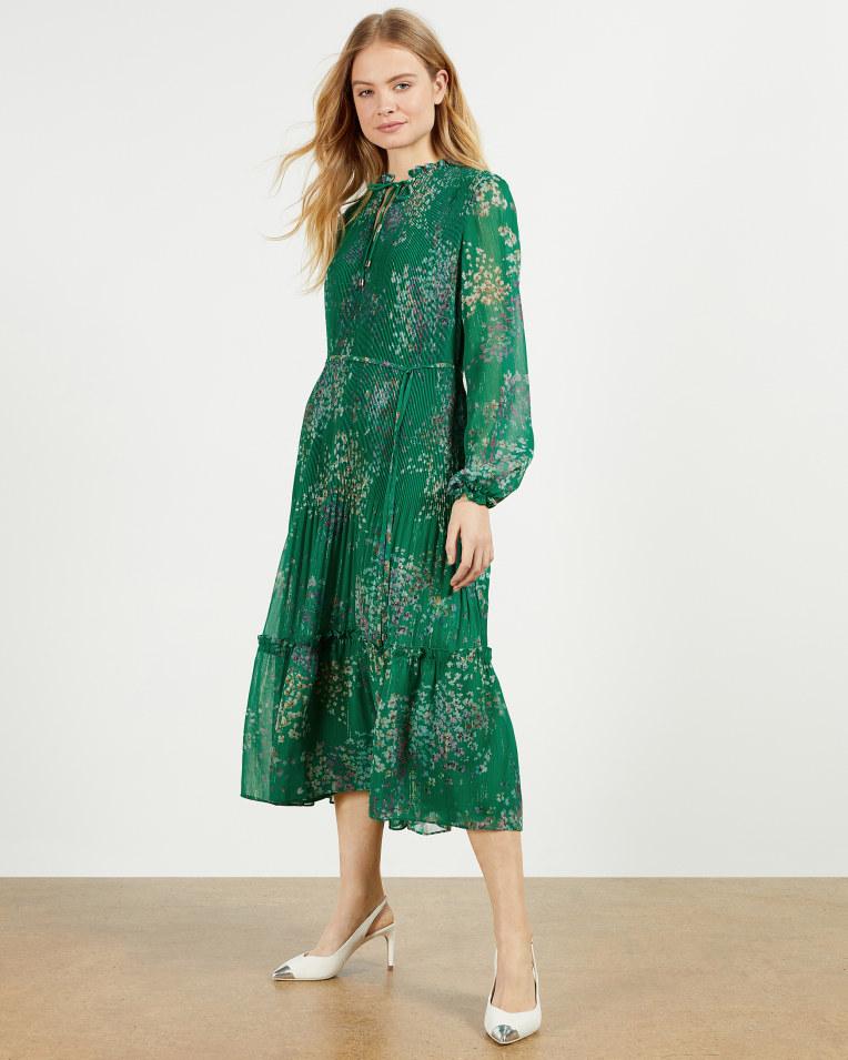 ROSIIIE Serendipity pleated long sleeve midi dress