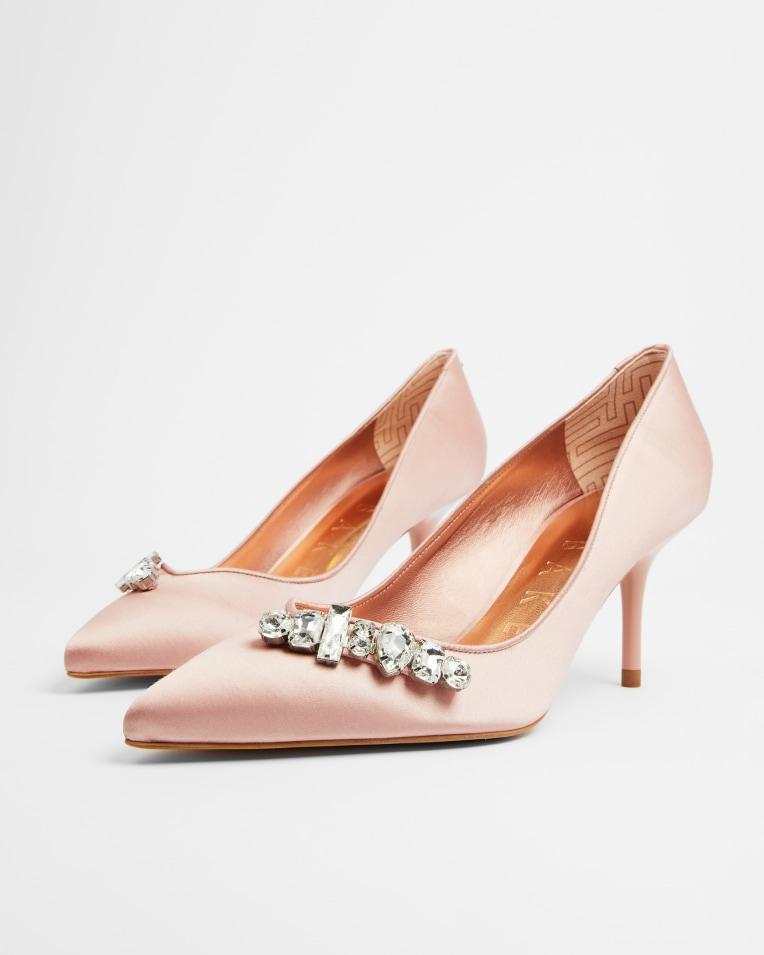 SPARKAL Embellished crystal mid heel court