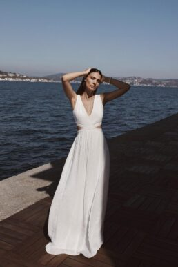 Rowley Hesselballe Aurelia Cut Out Wedding Maxi Dress White
