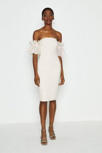 Coast Bardot Texture Sleeve Dress White