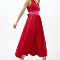 Coast Colour Block Poplin Wrap Dress Pink Red